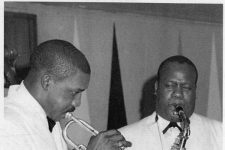 black and white photo of Melvin Lastie & Harold Battiste playing