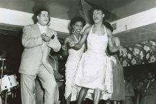 A dance contest with Patsy Vidalia, the beloved emcee at the Dew Drop, and the singer Bobby Marchan (left), who also performed in drag.