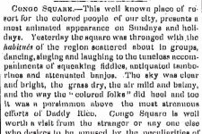 A newspaper article describes the African and African-American rituals in Congo Square as exotic spectacles.