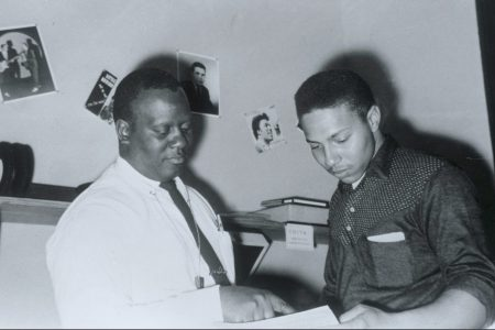 Harold Battiste and Art Neville at Specialty Records' New Orleans office circa 1957