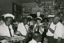 A brass band plays in Buster Holmes' bar and restaurant