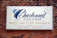 From 2012: Sign in English and French outside Charbonnet-Labat-Glapion Funeral Home.