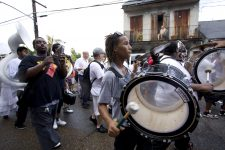 Jazz funeral procession for