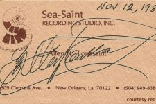 Allen Toussaint's business card from 1988