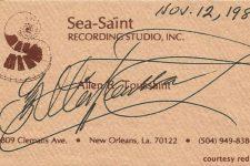Allen Toussaint's business card from 1988