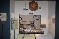 From the Louisiana State Museum in Baton Rouge, an exhibit including Earl Palmer's drum kit and the sign that hung at Cosimo Recording Studio at 521 Governor Nicholls Street.