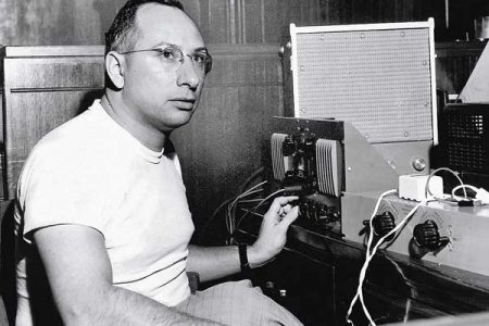 Cosimo Matassa in his studio on Governor Nicholls Street in 1958.