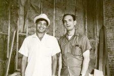 The great Eddie Bo (1930-2009) and Al Scramuzza, owner of Scram Records, in the corner of Cosimo's studio on Camp Street in July 1968.