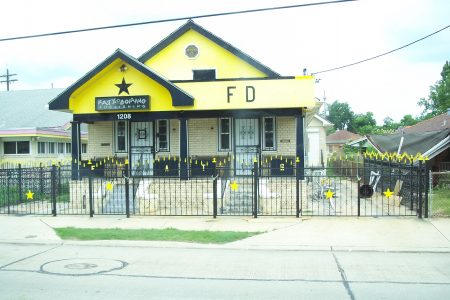 Fats Domino's house in the Lower Ninth Ward. Domino occupied a compound of sorts, with buildings on adjacent lots at the corner of Caffin Avenue and Marais Street.