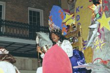 Ernie K-Doe reigning as king of the Krewe du Vieux Mardi Gras parade in 2001.