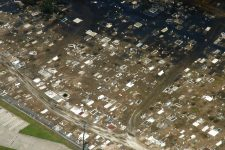 Overhead view of Holt Cemetery following Hurricane Katrina and the flood of 2005.