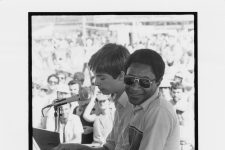 Harry Connick Jr. and James Carroll Booker III at the New Orleans Jazz and Heritage Festival in May 1982.