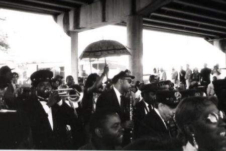 Danny Barker's funeral on Claiborne Avenue in1994. The event inspired the creation of the Black Men of Labor Social Aid and Pleasure Club.