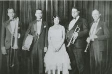 Freddie Keppard's Band in 1928-29. From left to right: John Thomas, Teg Eggleston, Lil Hardin Armstrong, Freddie Keppard, and Jerome Don Pasquall.