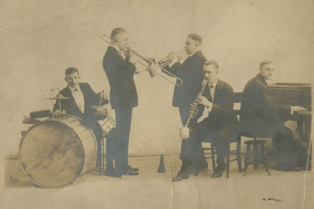 Original Dixieland Jazz Band: Tony Sbarbaro [Spargo], drums; Eddie Edwards, trombone; Larry Shields, clarinet; Nick LaRocca, cornet and leader; and Henry Ragas, piano.