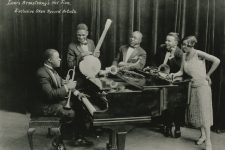 Louis Armstrong's Hot Five, which made landmark recordings for Okeh Records. Left to right: Armstrong, trumpet, Johnny St. Cyr, banjo; Johnny Dodds, clarinet; Kid Ory, trombone; and Lillian Hardin Armstrong, piano.