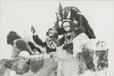 Louis Armstrong reigning as King Zulu in 1949, fulfilling a lifelong ambition.