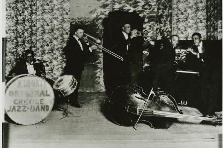 "Kid Ory's Original Creole Jazz Band, 1922: Warren ""Baby"" Dodds, Kid Ory, Mutt Carey, Ed ""Montudie"" Garland, and Wade Whaley."