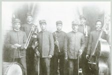 Imperial Band circa 1908. From left to right: John McMurray, drums; George File, trombone; James A. Palao, violin; ''Big Eye'' Louis Nelson Delisle, clarinet; Rene Baptiste, guitar; Manuel Perez, cornet; Jimmy Brown, bass.