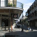Looking down Royal Street at St. Peter in the heart of the French Quarter.