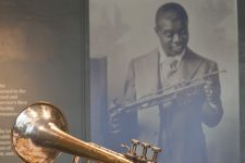 Louis Armstrong's first cornet on display at the New Orleans Jazz Museum at the Old U.S. Mint.