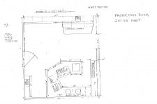 WWOZ Treehouse studio production room floor plan.