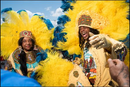 "Littdell ""Queen B"" Bannister and Irving ""Honey"" Bannister, Jr. with the Golden Sioux Mardi Gras Indians in 2016."