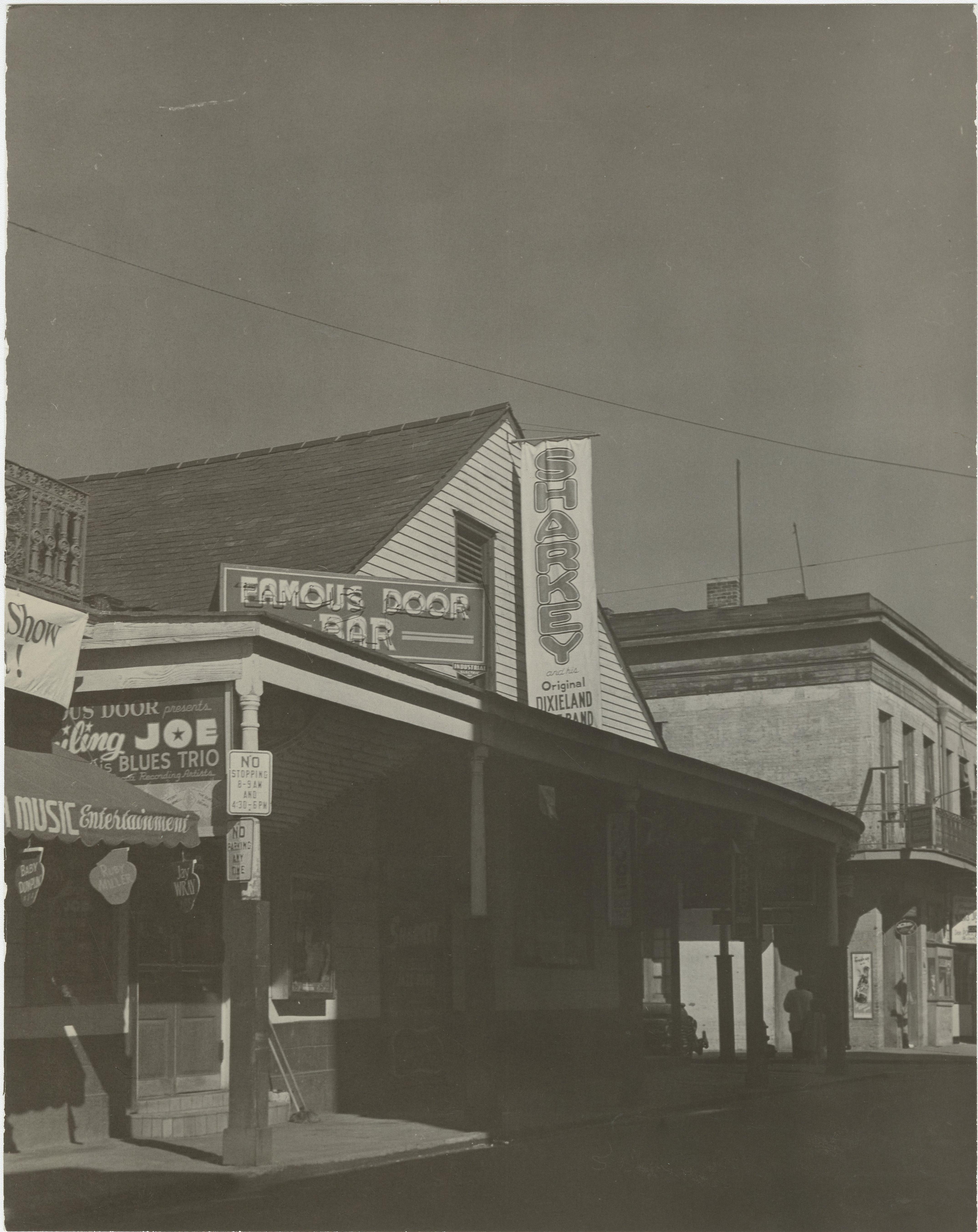 Exterior of Famous Door Bar in 1949. & Famous Door - New Orleans Music Map
