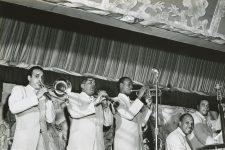 Freddie Kohlman Band (Wendell Eugene on the trombone, Willie J. Humphrey on the clarinet, Thomas Jefferson on the trumpet, Freddy Kohlman on the drums, and Clement Tervalon on the bass) performing at the Mardi Gras Lounge, 1953.