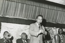The George Lewis Band (Jim Robinson on the trombone, Percy Humphrey on the trumpet, Sid Davilla on the clarinet, and Joe Watkins on the drums) at the Mardi Gras Lounge, 1952.