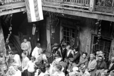 The courtyard at Dixie's on Mardi Gras, ca. 1952-55. Jack Robinson, the photographer, documented his community of artists and bohemians here before becoming a celebrated fashion photographer in New York.