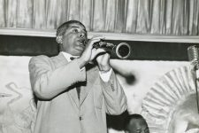 Willie Humphrey on the clarinet and Thomas Jefferson on the trumpet at the Mardi Gras Lounge, 1953.