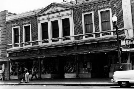 Storefronts of 348-352 South Rampart Street, just up the block from the Bop Shop. This photo was taken in 1952, shortly before the One Stop Record Shop moved into the building.