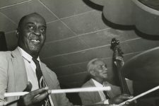 At the Paddock Lounge in 1956: Joe Watkins on the drums and Alcide Pavageau on the bass.