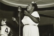 At the Paddock Lounge in 1949: Eloise Philips singing during an intermission.