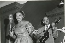 Blanche Thomas singing on Bourbon Street in 1950.