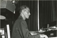 Lester Santiago on the piano with Paul Barbarin's band at the Dream Room in 1958.