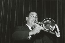 Clement Tervalon on the trombone with Paul Barbarin's band at the Dream Room in 1958.