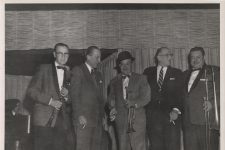 From left to right: Harry Shields with clarinet, The Marquis of Donegall of London, Sharkey Bonano with trumpet, Dr. Edmond Souchon, and Joe Rotis with trombone at the Dream Room on Bourbon Street, 1959.