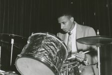 Charlie Otis playing the drums at the Dream Room on Bourbon Street, 1958.