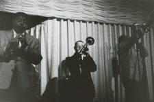 Paul Barbarin's band at the Dream Room in 1958: Willie Humphrey on clarinet, Ernie Cagnolatti on trumpet, and Clement Tervalon on trombone.