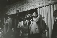 Paul Barbarin's band in the Dream Room in 1958: Willie Humphrey on clarinet, James Prevost on bass, Clement Tervalon on trombone, and Ernie Cagnolatti on trumpet.