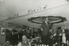 At the Paddock Lounge: Thomas Jefferson on trumpet, Clement Tervalon on trombone, Albert Burbank on clarinet, Lester Santiago on piano, and Alonzo Stewart on drums.