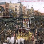 Postcard (c. 1901-1911) with an image of a Mardi Gras parade on Canal Street.