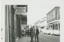 From 1961, composer and music historian William Russell outside of Poodle's Patio, where the pianist Archibald held a residency.