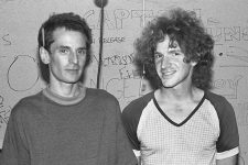 From 1986, Alex Chilton (left) with Scott Miller, one of the countless artists he influenced.