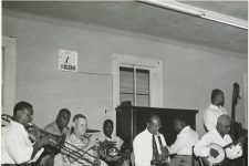 From 1958, members of the Lawrence Marrero Polo Barnes band rehearsing at the Autocrat Club.