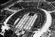 Aerial view of City Park Stadium filled with worshippers at the National Eucharistic Congress in 1938.