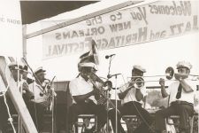 The Onward Brass Band performs at Jazz Fest in 1976.