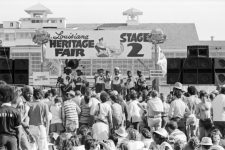 Jazz Fest in 1977, with the grandstand in the background.